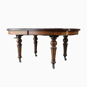 Large Antique Oak Extending Dining Table