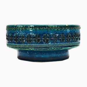 Cuenco italiano de cerámica azul Rimini de Aldo Londi para Bitossi, años 60