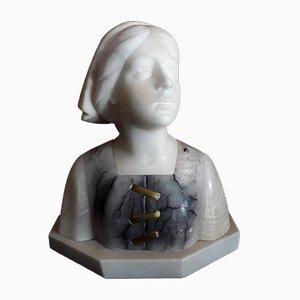 Antike Büste aus Alabaster von Alphonse Henri Nelson