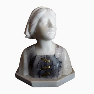Buste Antique en Albâtre par Alphonse Henri Nelson