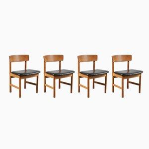 Esszimmerstühle aus Eichenholz von Børge Mogensen, 1950er, 4er Set