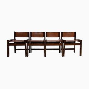 Brutalistische Esszimmerstühle mit Ledersitzen, 1970er, 4er Set
