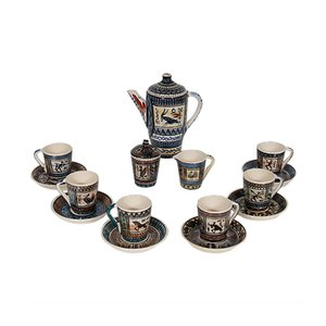 Ceramic Coffee Set from De Gats Valkenburg, 1950s