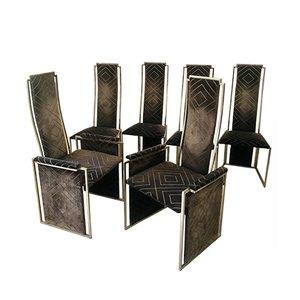 Chaises de Salle à Manger par Willy Rizzo pour Maison Jansen, 1970s, Set de 6