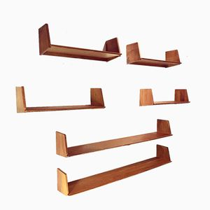 Vintage Wall Shelves by Marcel Gascoin for Arhec, 1940s, Set of 6