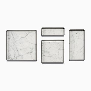 Bianco Carrara Marble Modular Trays by Elisa Ossino for Salvatori, Set of 4