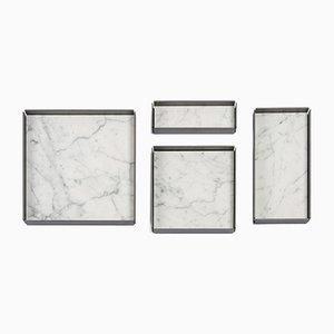 Modulares Tablett aus Bianco Carrara Marmor von Elisa Ossino für Salvatori, 4er Set