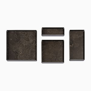 Pietra d'Avola Stone Modular Trays by Elisa Ossino for Salvatori, Set of 4
