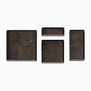 Pietra d'Avola Stone Modular Trays by Elisa Ossino for Salvatori, Set of 4