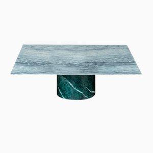 Tavolino da caffè Proiezioni in marmo Verde Alpi e Cipollino di Elisa Ossino per Salvatori