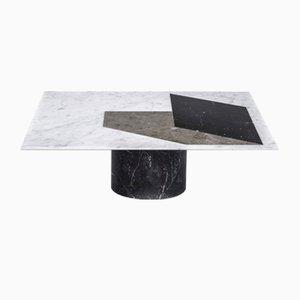Tavolino da caffè Proiezioni intarsiato in marmo di Elisa Ossino per Salvatori