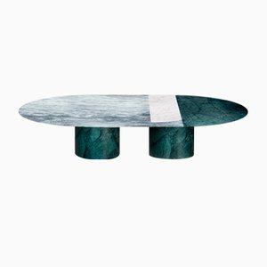 Tavolino da caffè Proiezioni in marmo Verde Alpi, Cipollino e di Carrara intarsiato di Elisa Ossino per Salvatori