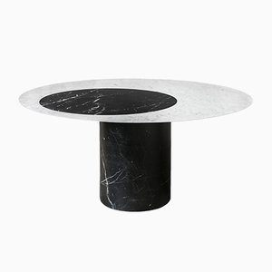 Nero Marquina & Bianco Carrara Marble Proiezioni Dining Table by Elisa Ossino for Salvatori