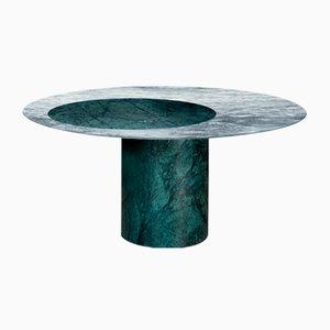 Tavolo da pranzo Proiezioni in marmo Verde Alpi e Cipollino di Elisa Ossino per Salvatori