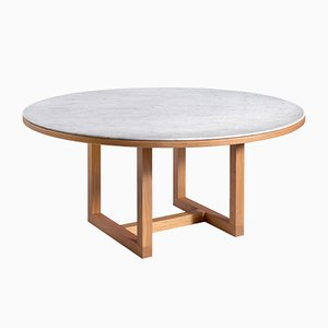 Mesa de comedor de mármol de Carrara en blanco de John Pawson para Salvatori