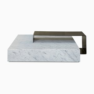White Carrara Marble Ta_Volo Coffee Table by Franz Siccardo for Salvatori