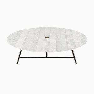 Lithoverde White Carrara Marble W Coffee Table by David Lopez Quincoces for Salvatori