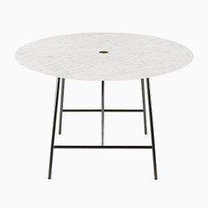 Tavolo da pranzo W in marmo bianco di Carrara di David Lopez Quincoces per Salvatori