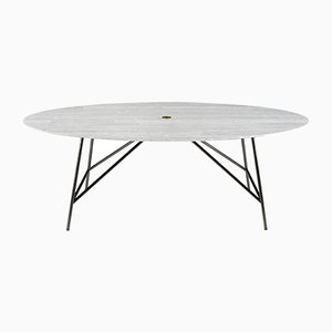 Oval Lithoverde White Carrara Marble W Dining Table by David Lopez Quincoces for Salvatori