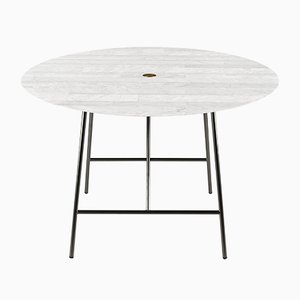 Lithoverde White Carrara Marble W Dining Table by David Lopez Quincoces for Salvatori