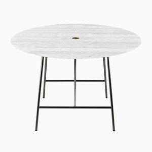 Mesa de comedor W Lithoverde de mármol de Carrara blanco de David Lopez Quincoces para Salvatori