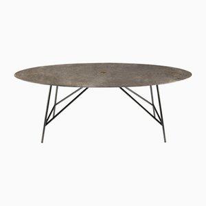 Table de Salle à Manger Marbre Ovale Gris du Marais par David Lopez Quincoces pour Salvatori