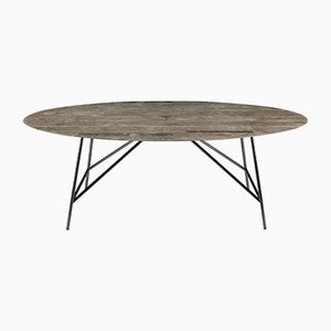 Oval Lithoverde Gris du Marais W Dining Table by David Lopez Quincoces for Salvatori