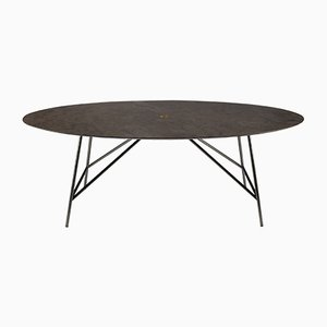 Oval Pietra d'Avola W Dining Table by David Lopez Quincoces for Salvatori