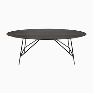 Oval Lithoverde Pietra d'Avola W Dining Table by David Lopez Quincoces for Salvatori