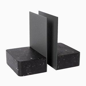 L 08 Buchstützen aus schwarzem Marquina Marmor von Piero Lissoni für Salvatori, 2er Set