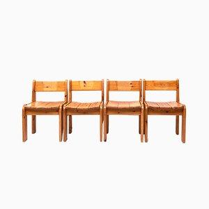 Esszimmerstühle aus Kiefernholz von Ate van Apeldoorn, 1970er, 4er Set