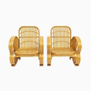 Rattan & Wicker Armchairs, 1970s, Set of 2