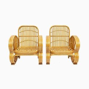 Sessel aus Rattan & Korbgeflecht, 1970er, 2er Set