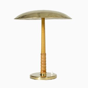 Vintage Brass & Leather Table Lamp by Bo Notini