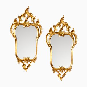 Espejos venecianos de madera dorada, años 60. Juego de 2