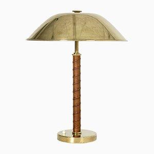 Lámpara de mesa vintage de latón y cuero de NK