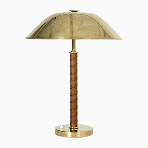 Vintage Brass & Leather Table Lamp from NK