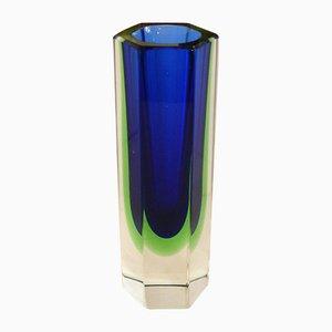 Jarrón hexagonal de vidrio Sommerso en verde y azul, años 60