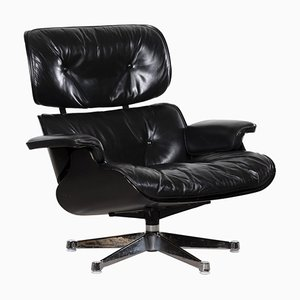 Sillón vintage negro de Charles & Ray Eames para Herman Miller