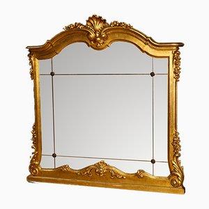 Italienischer Spiegel im Rahmen aus goldenem Holz & Gesso, 1960er