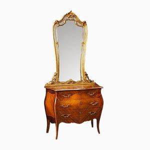 Cajonera italiana vintage con espejo dorado