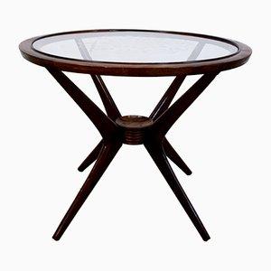 Mesa de centro de madera y vidrio serigrafiado de Paolo Buffa, años 50