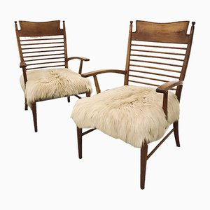 Cherry Wood & Goatskin Fur Armchairs by Paolo Buffa, 1950s, Set of 2