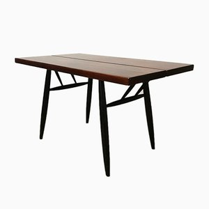 Pirkka Table with Red Brown Wooden Top by Ilmari Tapiovaara, 1950s