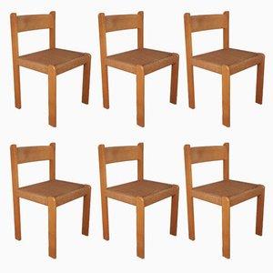 Dänische Mid-Century Esszimmerstühle aus Buche & Kord, 6er Set