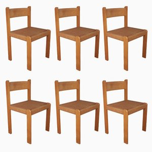 Mid-Century Danish Beech & Cord Dining Chairs, Set of 6