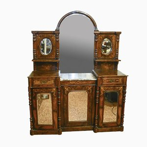 Antike französische Anrichte mit Spiegel