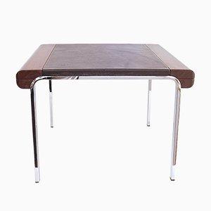 Mesa de centro vintage de metal cromado y cuero de Girsberger