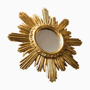 Golden Wood Stucco Sunburst Mirror, 1960s