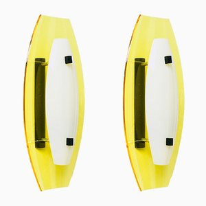 Vintage Perspex Wall Lights, 1950s, Set of 2